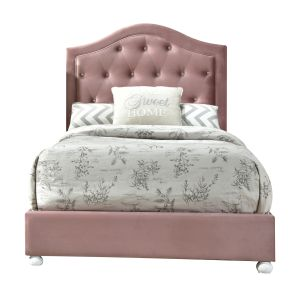 ACME Reggie Full Bed - 30875F - Transitional, Vintage - Polyester Fabric, Wood Leg (Rbw), Frame: Wood (Tropical Wood, MDF, Chipboard), Foam - Pink Fabric