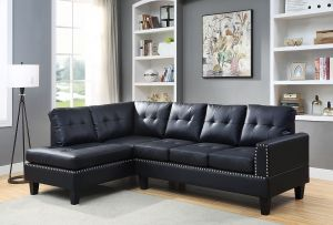 ACME Jeimmur Sectional Sofa , Black PU - 56465