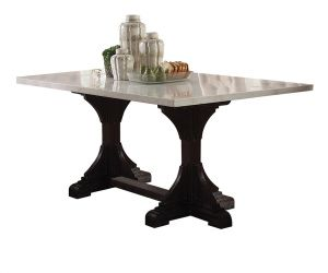 ACME Gerardo Dining Table - 60180 - Vintage, Transitional - Marble, Wood (Pine) - White Marble and Weathered Espresso