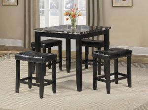 ACME Blythe 5Pc Pack Counter Height Set, Faux Marble & Black - 71095