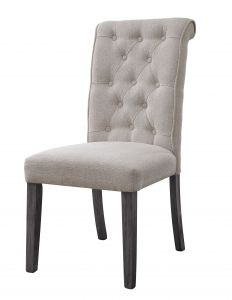 ACME Yabeina Side Chair (Set-2), Beige Linen & Gray Finish - 73267