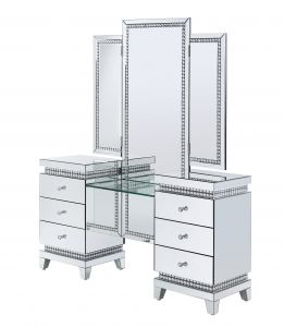 ACME Lotus Vanity Desk - 90805 - Glam - Mirror, Glass, Faux Crystals, Composite Wood - Mirrored and Faux Crystals