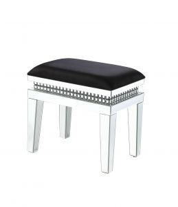 ACME Lotus Vanity Stool - 90808 - Glam - Mirror, Upholstered (Seat), Faux Crystals, Composite Wood - Mirrored and Faux Crystals