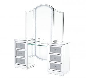 ACME Noralie Vanity Desk (LED) - 90815 - Glam - LED, Mirror, Glass, Faux Diamonds, Composite Wood - Mirrored and Faux Diamonds