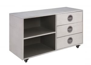 ACME Brancaster Cabinet - 92427 - Industrial - Aluminum, Frame: Ply, Metal (Stainless Steel) - Aluminum