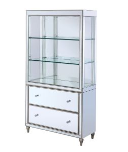 ACME Persis Bookcase - 92850 - Glam - LED, Mirror, Glass, Composite Wood - Mirrored