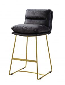 ACME Alsey Counter Height Chair (Set-2) - 96400 - Industrial, Contemporary - Top Grain Leather, Metal Base, Frame: Wood (), Foam - Vintage Black Top Grain Leather