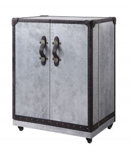 ACME Brancaster Wine Cabinet - 97802 - Industrial - Top Grain Leather, Aluminum, Ply - Antique Ebony Top Grain Leather and Aluminum