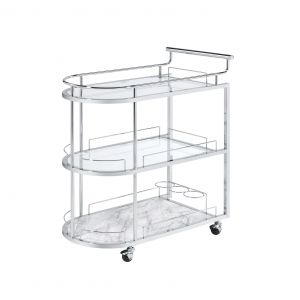 ACME Inyo Serving Cart, Clear Glass & Chrome Finish - AC00161