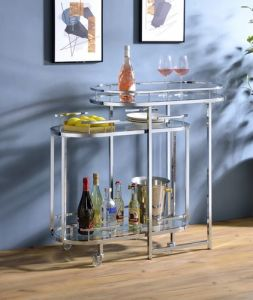 ACME Piffo Serving Cart & Bar Table, Clear Glass & Chrome Finish - AC00162