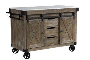 ACME Alforvott Serving Cart, Marble & Weathered Gray Finish - AC00185