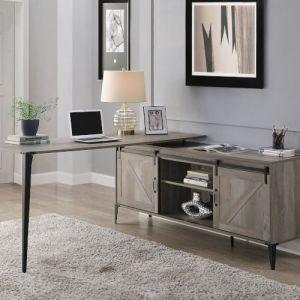 ACME Zakwani Writing Desk w/USB, Gray Oak & Black Finish - OF00003