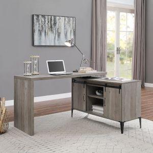 ACME Zakwani Writing Desk w/USB, Gray Oak & Black Finish - OF00007