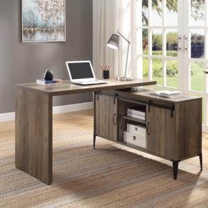 ACME Zakwani Writing Desk w/USB, Rustic Oak & Black Finish - OF00008