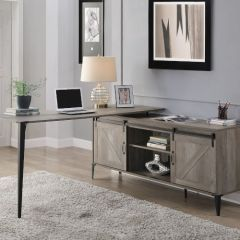 ACME Zakwani Writing Desk w/USB, Gray Oak & Black Finish - OF00003