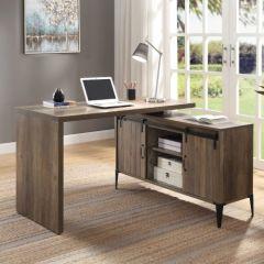 ACME Zakwani Writing Desk, Rustic Oak & Black Finish - OF00006