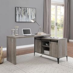 ACME Zakwani Writing Desk w/USB, Gray Oak & Black Finish - OF00007