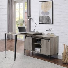 ACME Zakwani Writing Desk, Gray Oak & Black Finish - OF00009