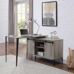 ACME Zakwani Writing Desk w/USB, Gray Oak & Black Finish - OF00011