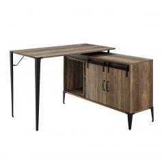 ACME Zakwani Writing Desk w/USB, Rustic Oak & Black Finish - OF00012