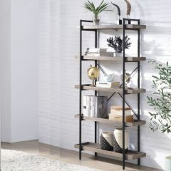 ACME Zakwani BookShelf, Gray Oak & Black Finish - OF00013